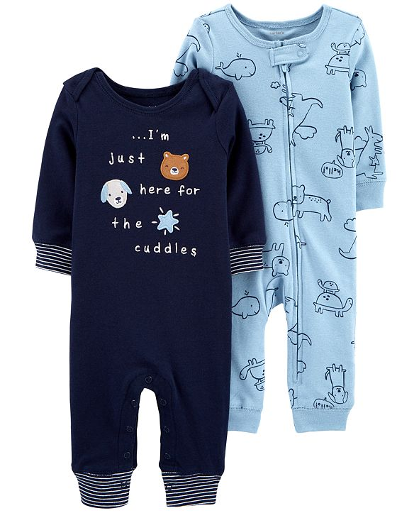 Carter's Baby Boys 2-Pack Printed Cotton Coveralls