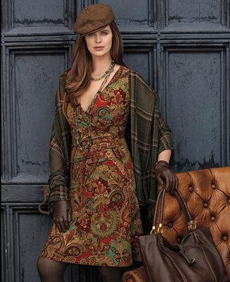 Lauren Ralph Lauren Plus Size Cap Sleeve Paisley Print