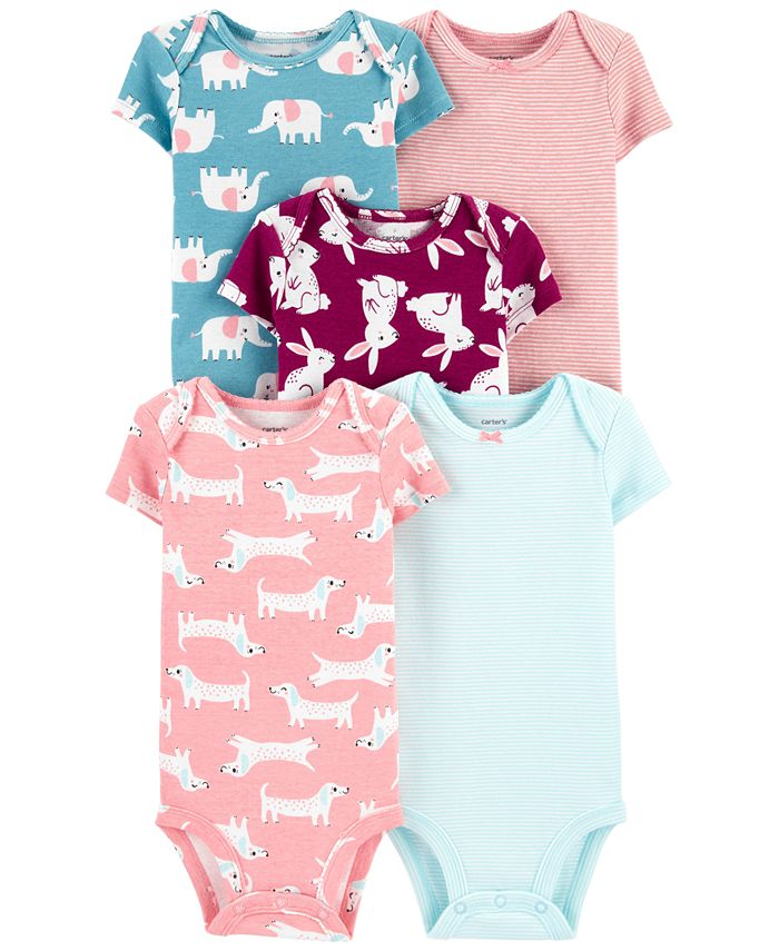 Carter's - Baby Girls 5-Pack Animals Printed Cotton Bodysuits