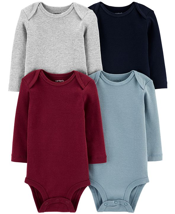 Carter's Baby Boys 4-Pk. Multi-Color Long-Sleeve Cotton Bodysuits