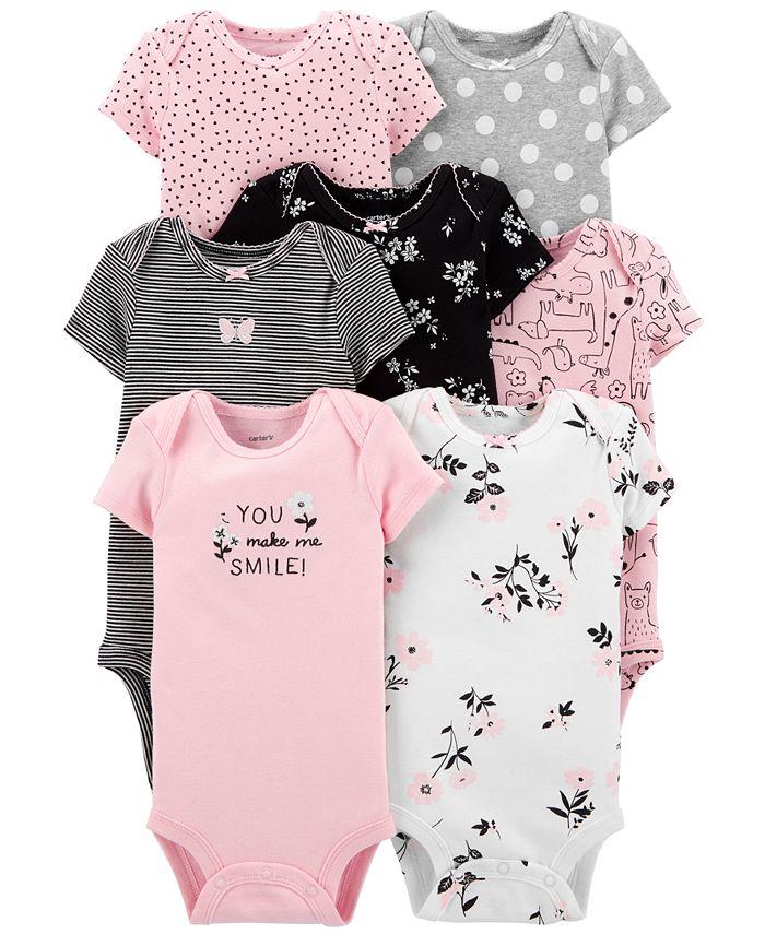 Carter's - Baby Girls 7-Pk. Cotton Hearts & Florals Bodysuits