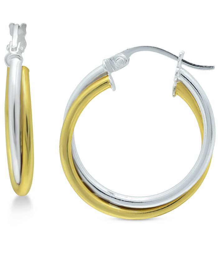 "Giani Bernini - Small Two-Tone Overlap Hoop Earrings in Sterling Silver & 18k Gold-Plate, 3/4"""