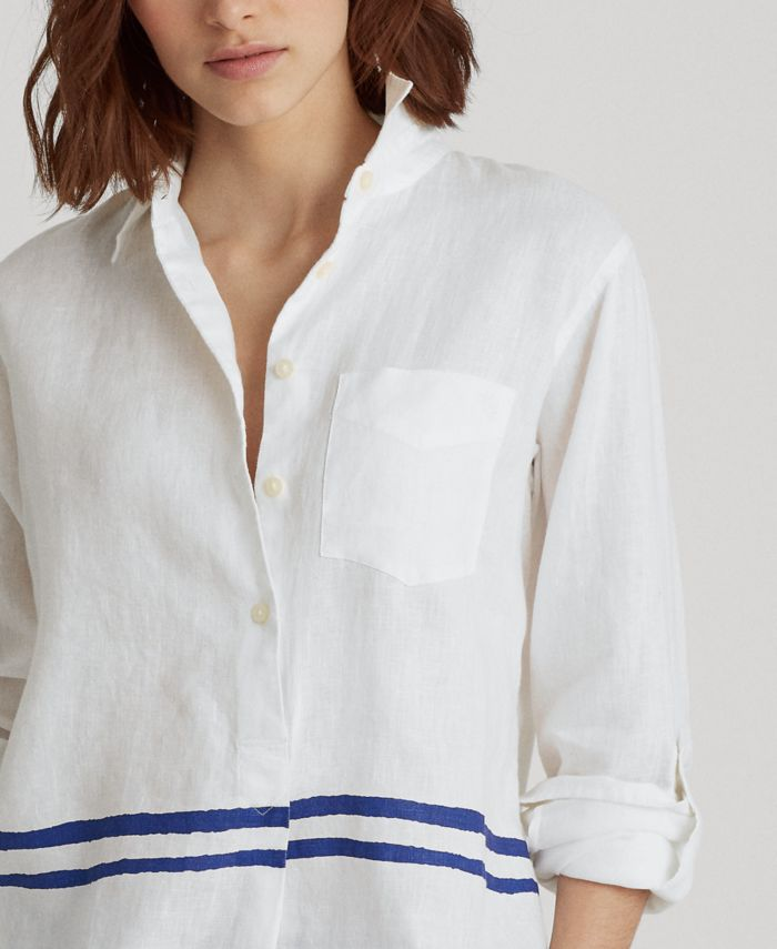 Lauren Ralph Lauren Roll-Tab Linen Top  & Reviews - Tops - Women - Macy's