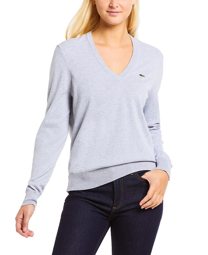 Lacoste - Classic Cotton Boyfriend-Fit Long-Sleeve Sweater