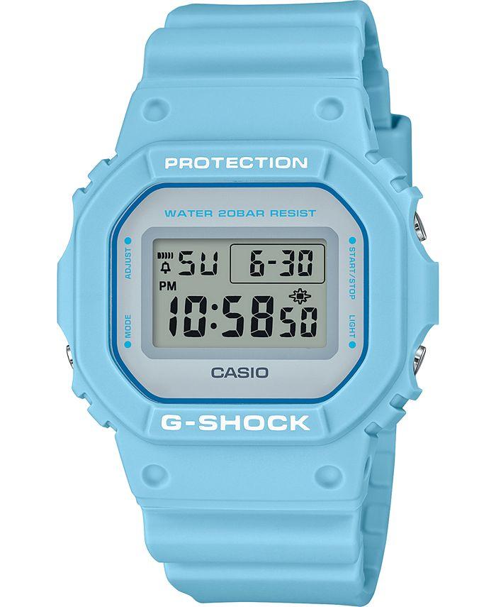 G-Shock - Men's Digital Pastel Blue Resin Strap Watch 42.8mm