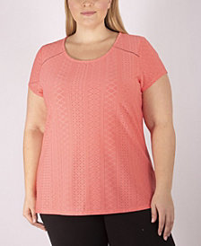 NY Collection Women's Plus Size Knit Eyelet Top