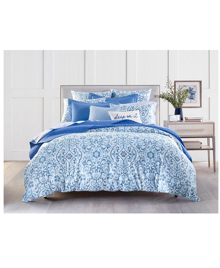 Charter Club - Filigree 300-Thread Count Twin Duvet Set, Created for Macy's