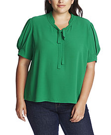 CeCe Plus Size Short Sleeve Ruffle V-Neck Top