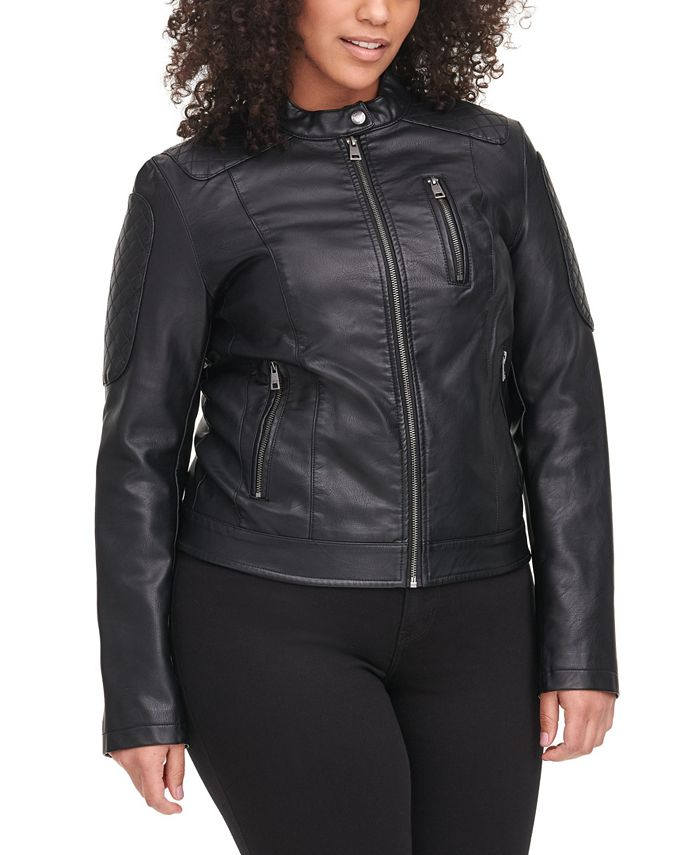 Levi's - Trendy Plus Size Classic Faux-Leather Quilted Racer Jacket