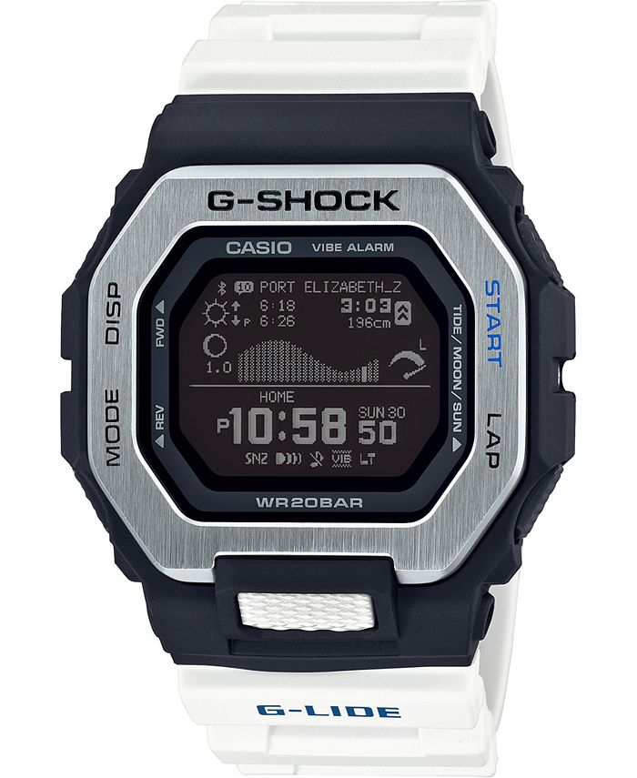 G-Shock - Men's Connected Digital G-Lide White Resin Strap Watch 46mm