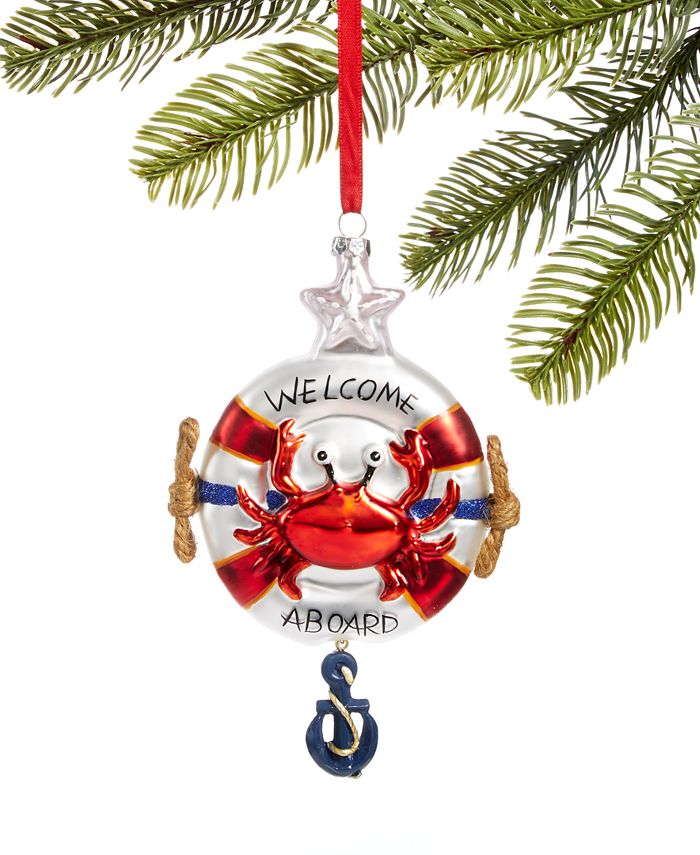 Holiday Lane - At the Beach Molded Glass Life Preserver Ornament