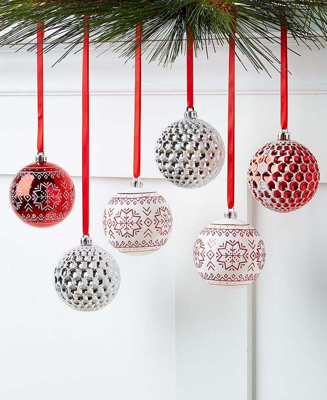 Holiday Lane Chalet You Stay, Set of 6 Red & White Shatterproof Ornaments, Created for Macy's