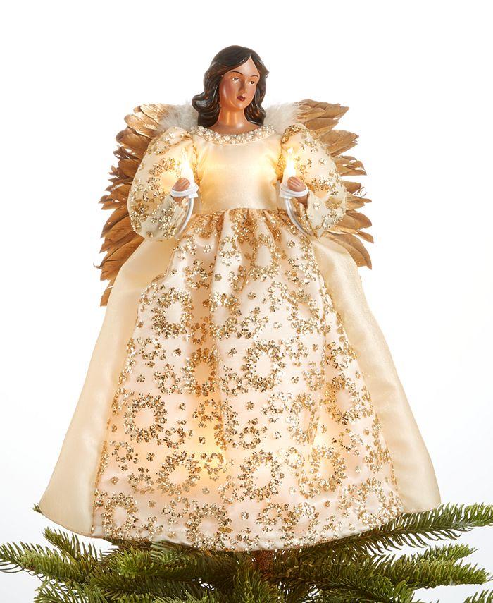 Holiday Lane - Glitter-Trim Ivory Angel Tree Topper