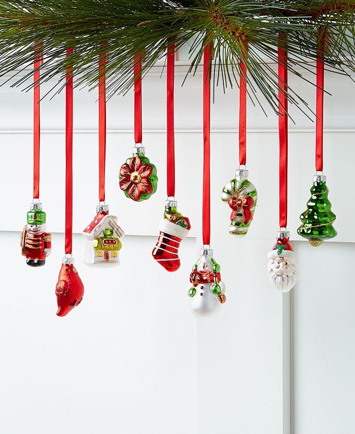 Holiday Lane - Christmas Cheer Set of 9 Glass Figural Ornaments