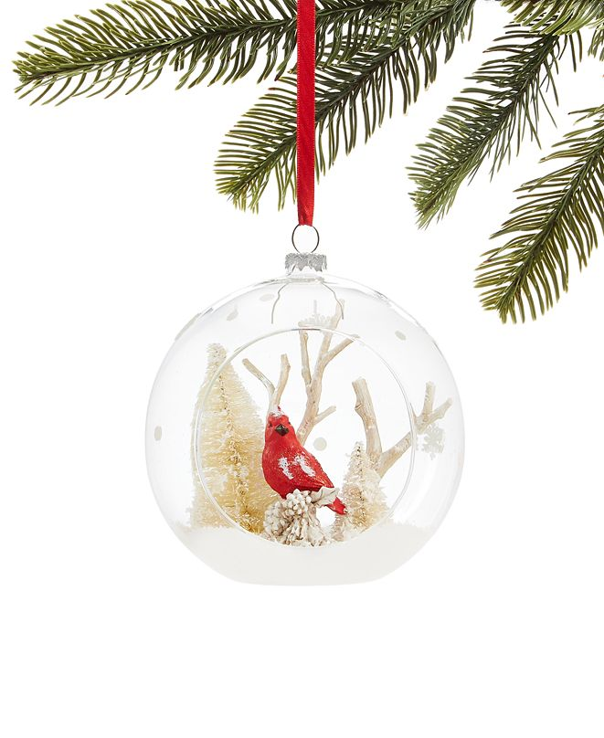 Martha Stewart Collection Farmhouse Clear Glass Ball with Cardinal & Snowy Branches, Created for Macy's