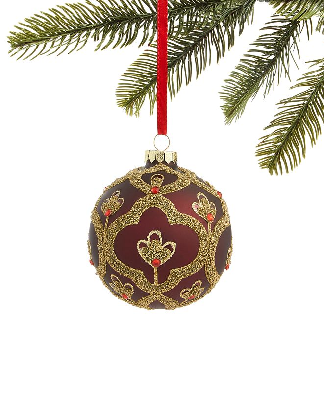 Holiday Lane Evergreen Dreams Glass Ball Ornament with Microbead Pattern, Created for Macy's