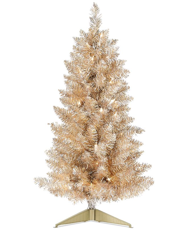 "Holiday Lane Shine Bright Pre-Lit Champagne & Silver Tinsel 30"" Tree, Created for Macy's"