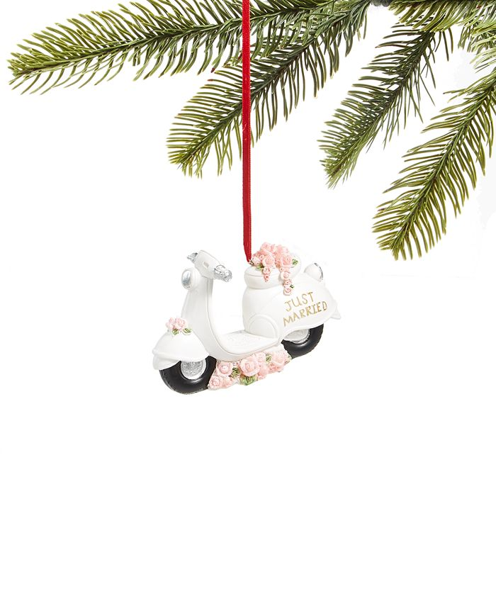 """Holiday Lane - Just Married"""" Moped Ornament"""