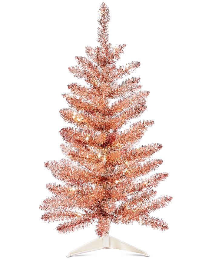 Holiday Lane Shimmer Light Pre Lit Rose Gold Tinsel Tree Created For Macy S Reviews Shop All Holiday Home Macy S