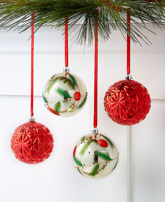 Holiday Lane Christmas Cheer Shatterproof Red and White Ornaments, Set of 4, Created for Macy's