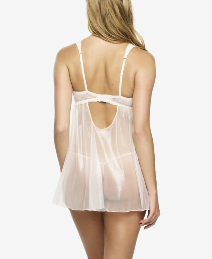 Jezebel Women's Gillian Mesh and Lace Babydoll with G-String & Reviews - Bras, Panties & Lingerie - Women - Macy's
