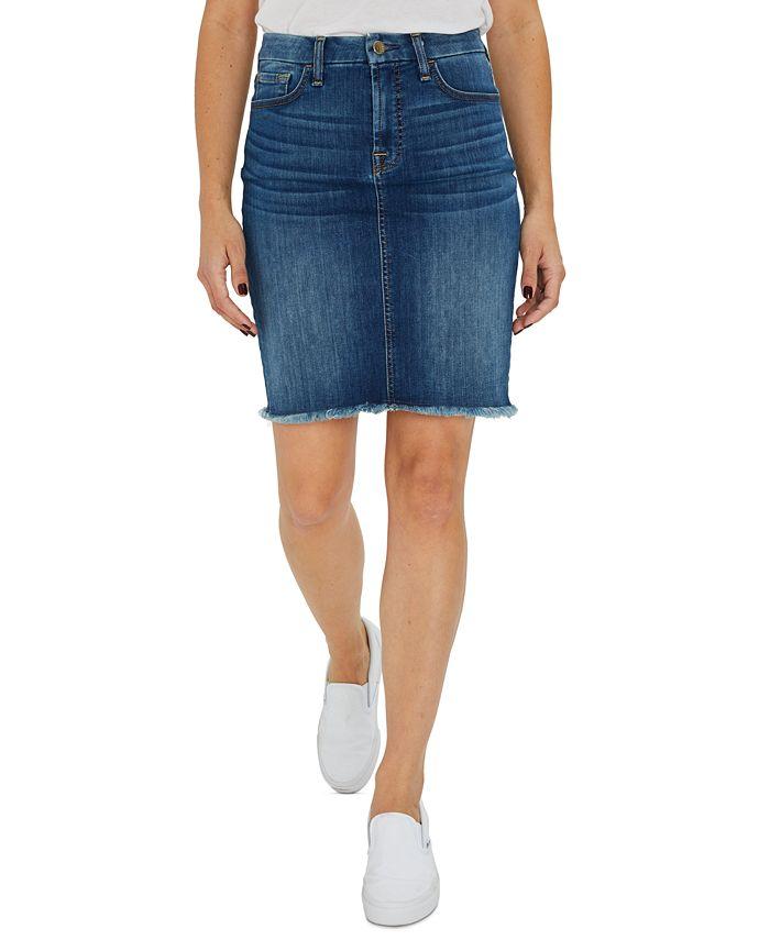 JEN7 - Frayed-Hem Denim Skirt