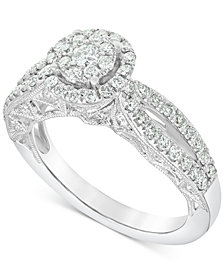 Diamond (1 ct. t.w.) Halo Cluster Engagement Ring in 14k White Gold