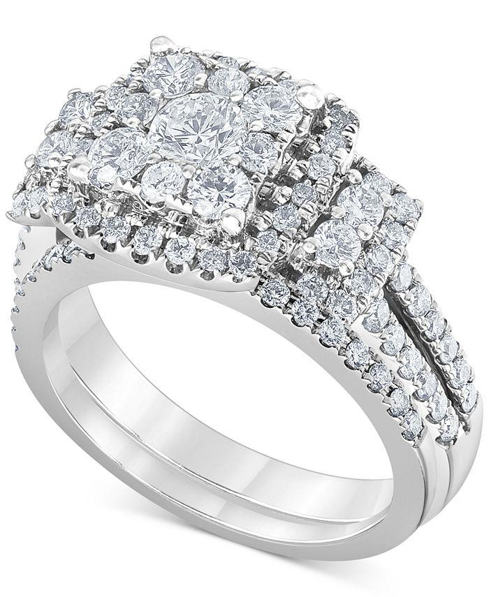 Macy's - Diamond (1-1/2 ct. t.w.) Square Halo Bridal Set in 14K White Gold