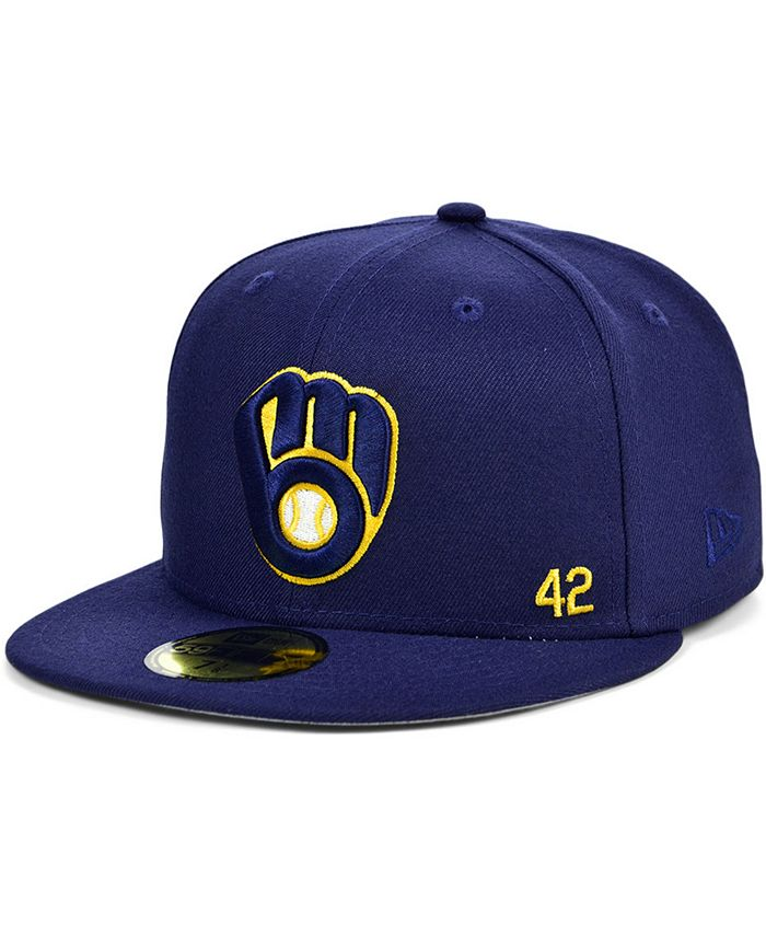 New Era - Men's Milwaukee Brewers Jackie Robinson 50th Patch 59FIFTY-FITTED Cap