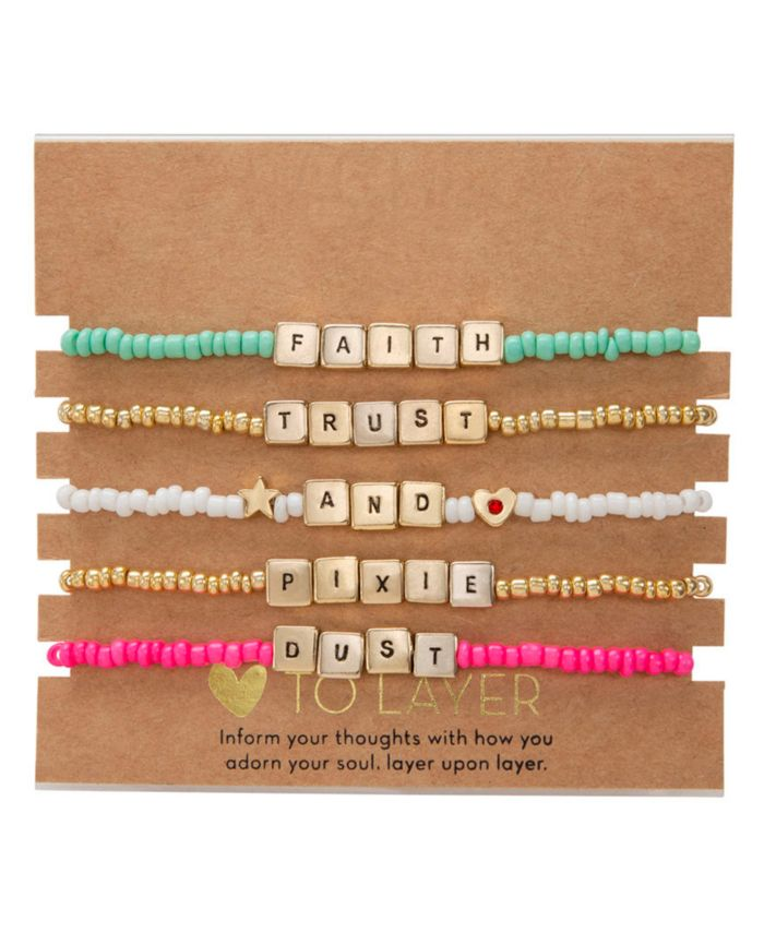 RACHEL Rachel Roy Gold-Tone 5-Pc. Set Pixie Dust Beaded Stretch Bracelets & Reviews - Bracelets - Jewelry & Watches - Macy's
