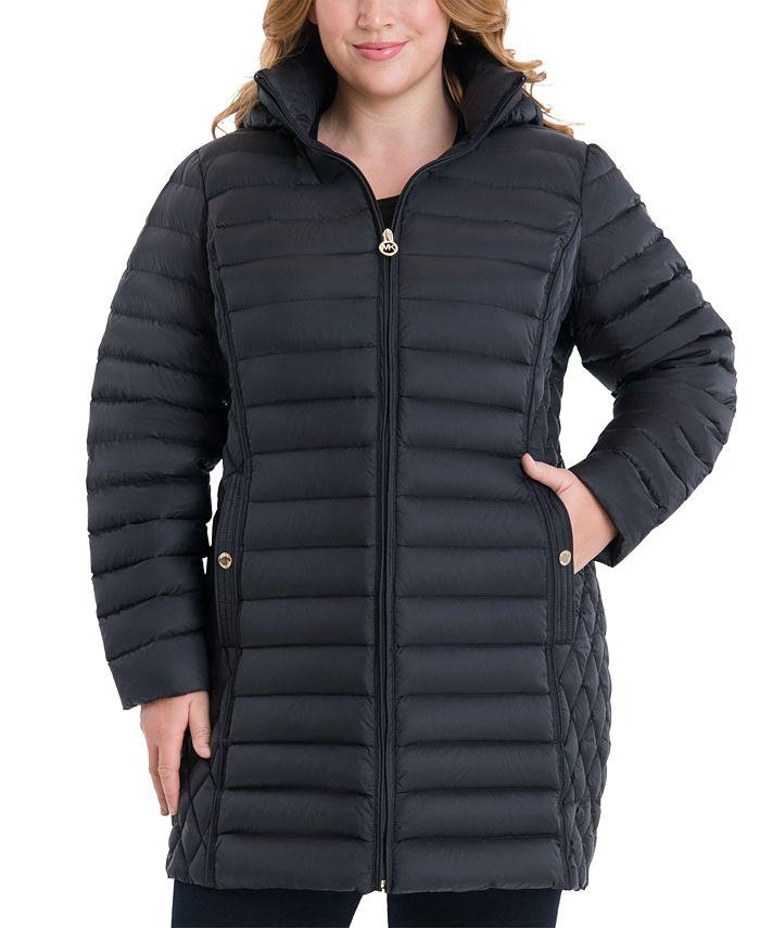 Michael Kors - Plus Size Hooded Packable Puffer Coat,