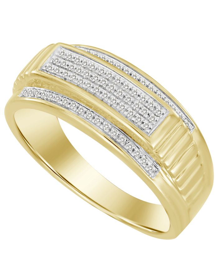 Macy's - Men's Diamond (1/5 ct. t.w.) Ring in 10K Yellow Gold