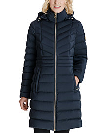 Michael Michael Kors Hooded Stretch Packable Water-Resistant Down Puffer Coat, Created for Macy's