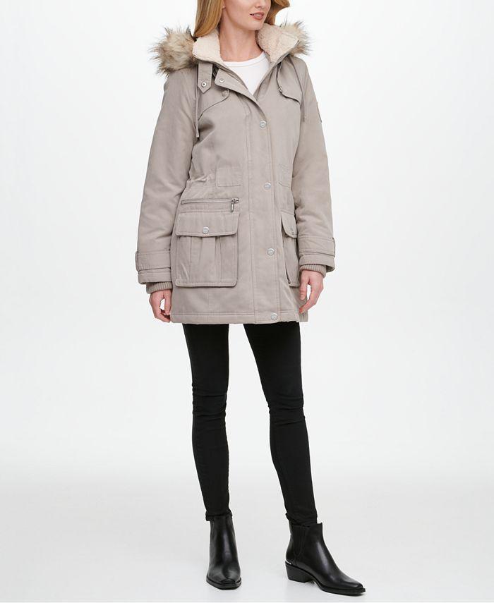 DKNY - Faux-Fur Trim Hooded Anorak Jacket