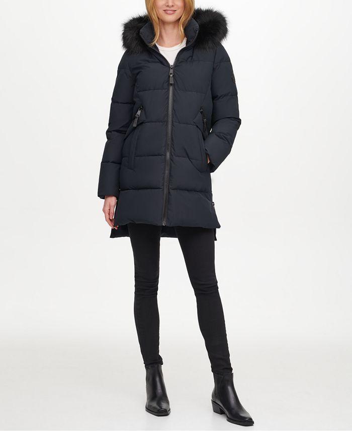 DKNY - Faux-Fur-Trim Hooded Puffer Coat