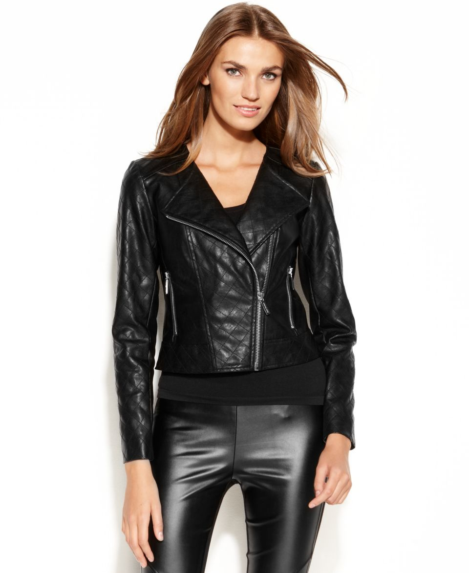 MICHAEL Michael Kors Faux Leather Quilted Moto Jacket   Jackets & Blazers   Women