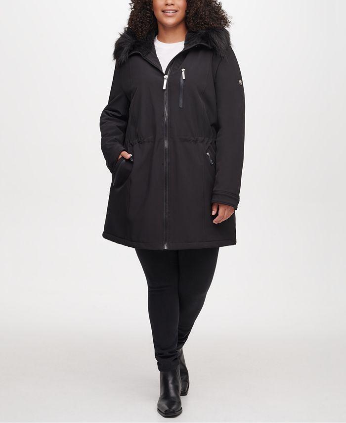 Calvin Klein - Plus Size Faux-Fur Hooded Raincoat
