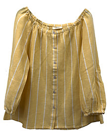 Style & Co Plus Size Striped Button-Down Off-The-Shoulder Top, Created for Macy's