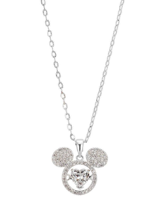 "Disney - Crystal Mickey Mouse Dancing Heart Pendant Necklace in Fine Silver-Plate, 16"" + 2"" extender"