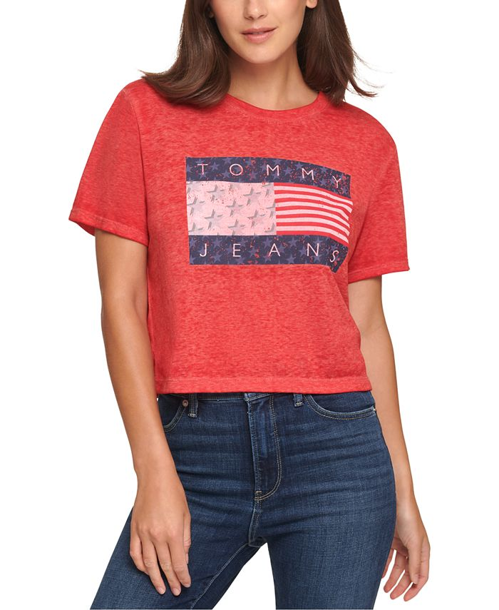 Tommy Jeans - Juniors' Cropped Flag T-Shirt