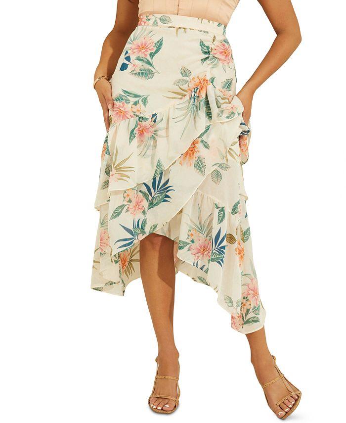 GUESS - Maritza Floral-Print Faux-Wrap Ruffled Skirt