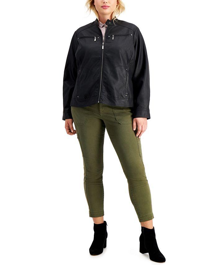 Jou Jou - Trendy Plus Size Faux-Leather Jacket
