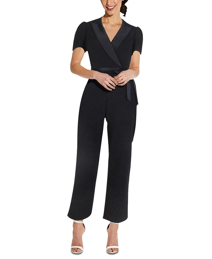 Adrianna Papell - Cropped Crepe Jumpsuit