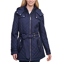 Tommy Hilfiger Petite Hooded Belted Water-Resistant Quilted Coat