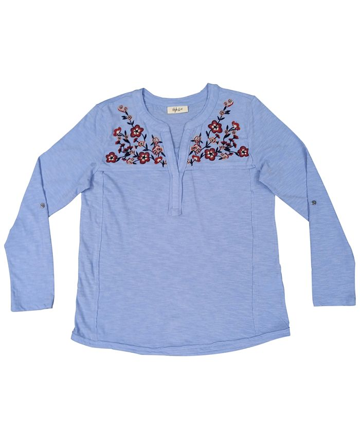 Style & Co - Plus Size Cotton Embroidered Knit Top