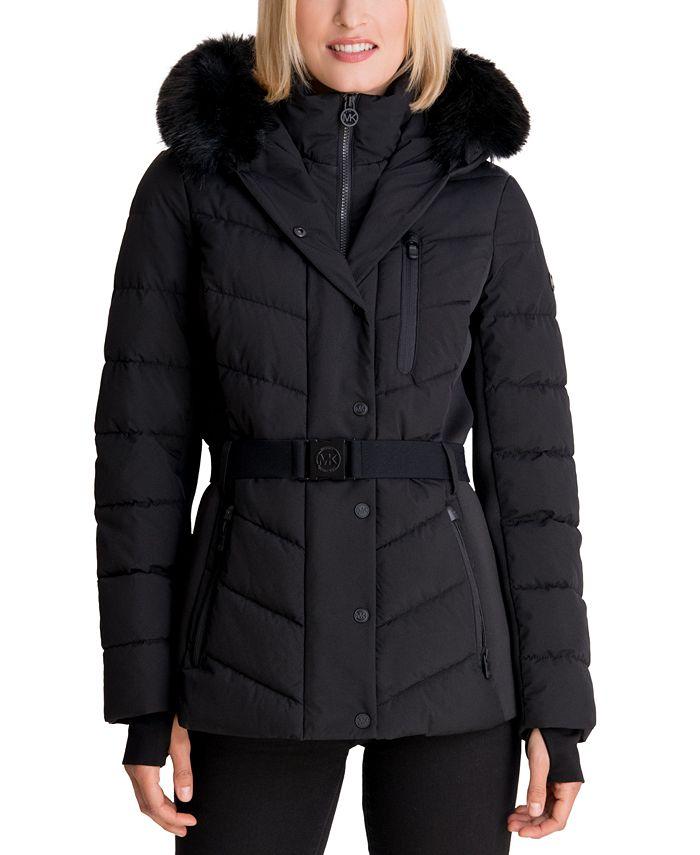 Michael Kors - Belted Faux-Fur Trim Hooded Puffer Coat