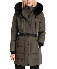 Michael Michael Kors Belted Faux-Fur-Trim Hooded Puffer Coat