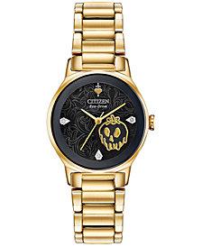 Citizen Eco-Drive Women's Evil Queen Diamond-Accent Gold-Tone Stainless Steel Bracelet Watch 28mm
