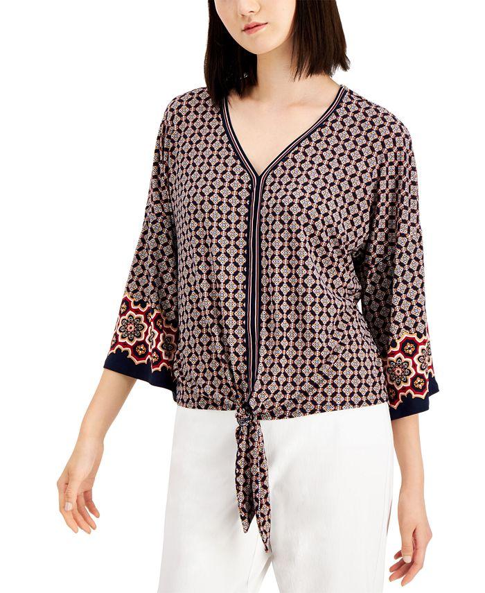 JM Collection - Plus Size Printed Tie-Front Top