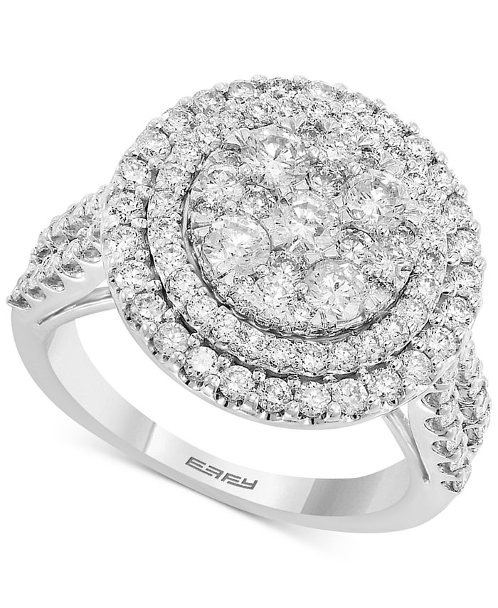 EFFY Collection - Diamond Halo Cluster Engagement Ring (1-7/8 ct. t.w.) in 14k White Gold